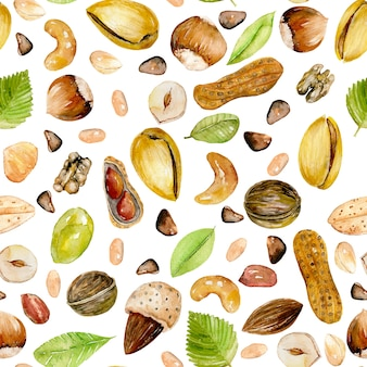 Seamless pattern with watercolor nuts