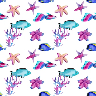 Seamless pattern with watercolor oceanic fishes and starfishes