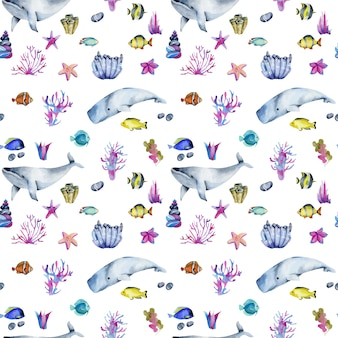 Seamless pattern with watercolor oceanic fishes and whales