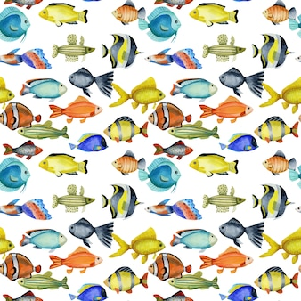 Seamless pattern with watercolor oceanic tropical exotic fishes