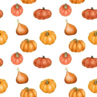 水彩のオレンジ色のカボチャとのシームレスなパターン