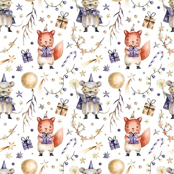Seamless pattern with watercolor painted cute mouse and rabbit in carnival costumes, gifts, garlands and sweets. watercolor background with characters and elements of a party, new year, birthday