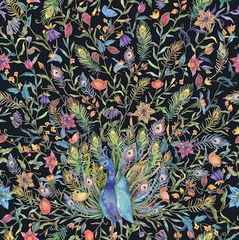 Modello senza cuciture con pavone acquerello e illustrazione di fiori
