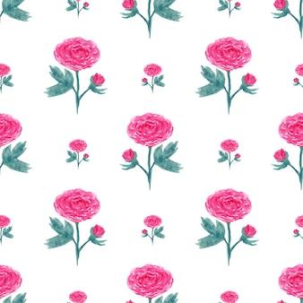 수채화 모란과 완벽 한 패턴입니다. 분홍색 꽃을 가진 벡터 일러스트 레이 션. 웹 페이지, 청첩장, 꽃 배경 날짜 카드를 저장합니다.