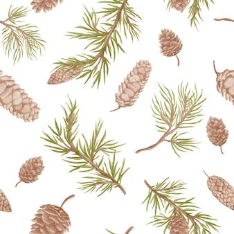 수채화 소나무 콘와 완벽 한 패턴