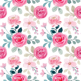 Seamless pattern with watercolor pink rose flower