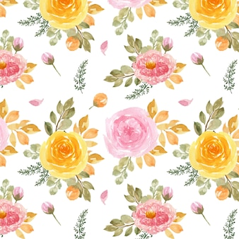 Seamless pattern with watercolor pink and yellow roses