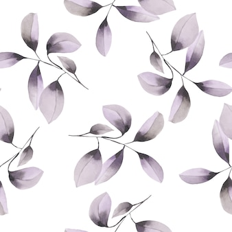 Seamless pattern with watercolor purple branches