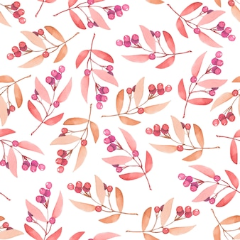 Seamless pattern with watercolor red berries