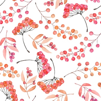Seamless pattern with watercolor red and orange berries