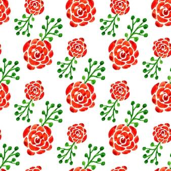 수채화 장미와 완벽 한 패턴입니다. 벡터 일러스트입니다. 웹 페이지, 청첩장 꽃 배경