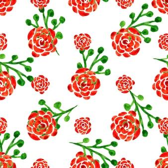 수채화 장미와 완벽 한 패턴입니다. 붉은 꽃으로 벡터 일러스트 레이 션. 꽃 배경