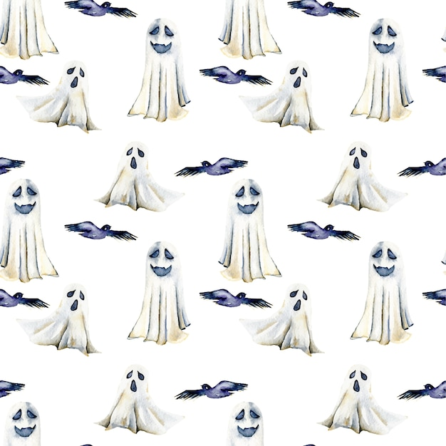 Seamless pattern with watercolor spooks and birds