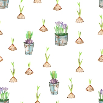 Seamless pattern with watercolor spring green plant sprouts from the soil
