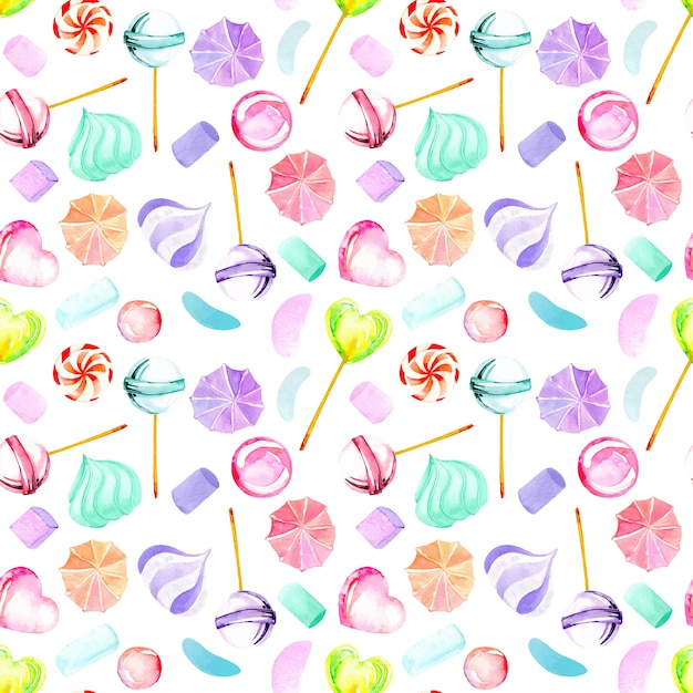 Seamless pattern with watercolor sweets