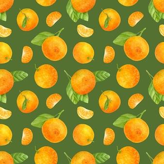 Бесшовный фон с акварельными мандаринами и листьями