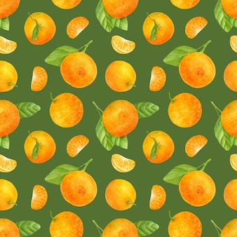 Seamless pattern with watercolor tangerines and leaves