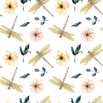 Seamless pattern with watercolor tender dragonflies and pink flowers
