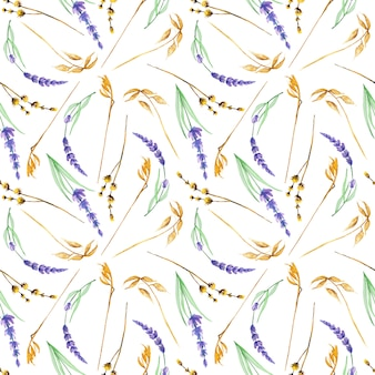 Seamless pattern with watercolor yellow dry wildflowers and lavender flowers