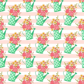 Seamless pattern with watering can and flowers.