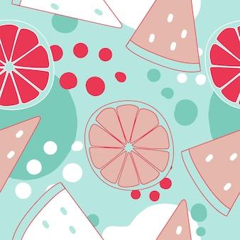 트렌디한 색상의 수박과 오렌지와 함께 매끄러운 패턴입니다. 핑크와 그린 블루 색상