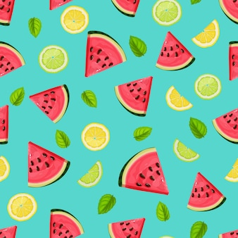 Seamless pattern with watermelon slices, lime, mint and lemon.