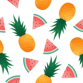 Seamless pattern with watermelon slices and pineapple.