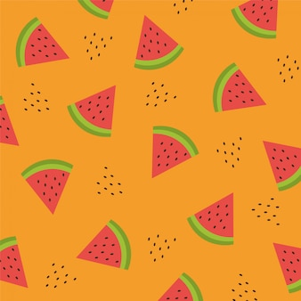 Seamless pattern with watermelon slices. vector illustration. summer watermelon