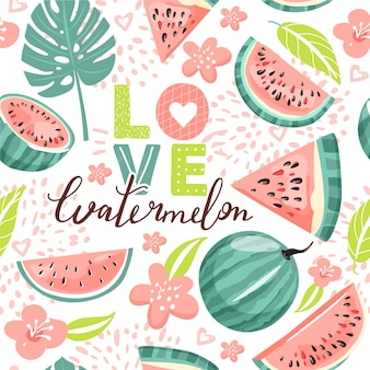 Seamless pattern with watermelon. summer vibes.