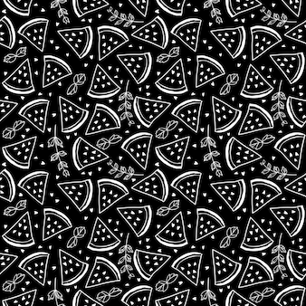 수 박과 민트 잎으로 완벽 한 패턴