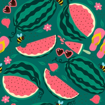 녹색 배경에 수박과 원활한 패턴