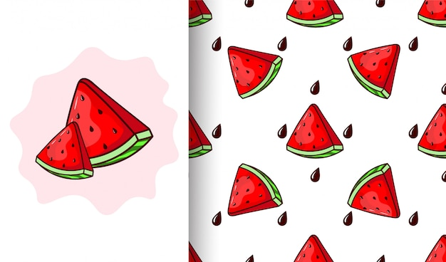 Seamless pattern with watermelons