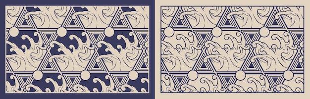 일본 테마에 파도 함께 완벽 한 패턴입니다. 패브릭 인쇄, 장식, 포스터, 포장 및 기타 여러 용도에 적합합니다. 패턴 주위의 프레임은 별도의 그룹에 있습니다.