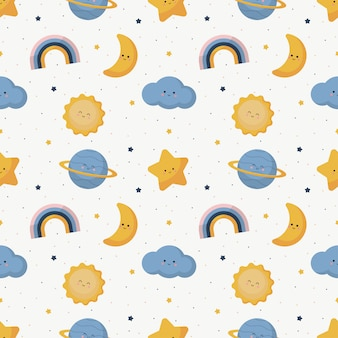 Seamless pattern with weater icons set cartoon style isolated on white background.