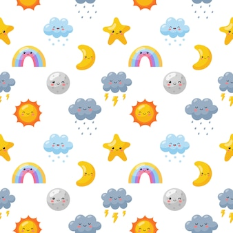 Seamless pattern with weater icons set cartoon style isolated on white .