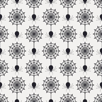 Seamless pattern with web and spiders
