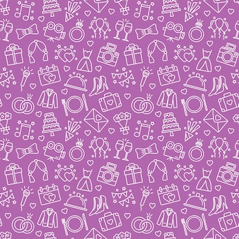 Seamless pattern with wedding icons. wedding background, vector illustration
