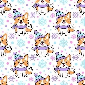Бесшовные модели с собакой вельш корги и снегом