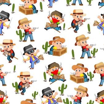Seamless pattern with west cowboy in action