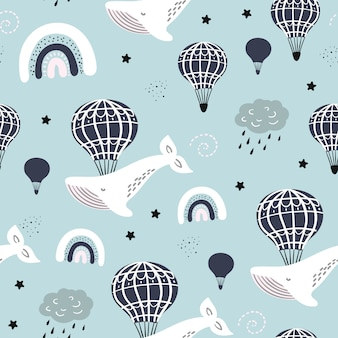 Seamless pattern with whale, balloon, cloud in the sky