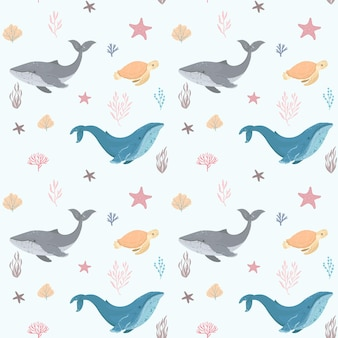 Seamless pattern with whale and turtle