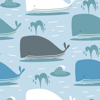 Seamless pattern with whale.