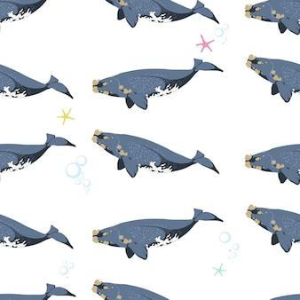 白い背景の上のクジラとのシームレスなパターン。ベクトルイラスト。