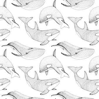 Бесшовный фон с китами, орками и другими рыбами.