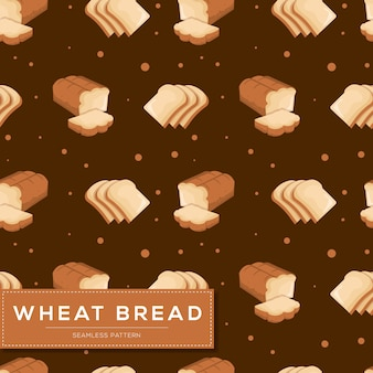 Seamless pattern with wheat bread