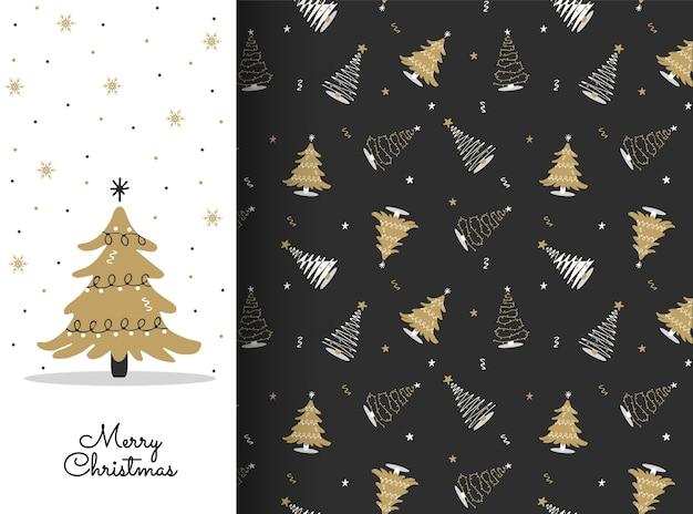 白と金のクリスマスツリーとのシームレスなパターン。カード、背景、布、包装紙の新年のデザイン。