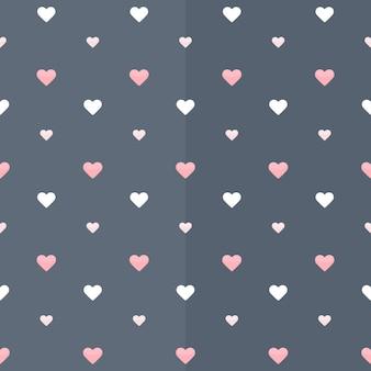 Бесшовный фон с белыми и розовыми сердечками на синем. векторная иллюстрация