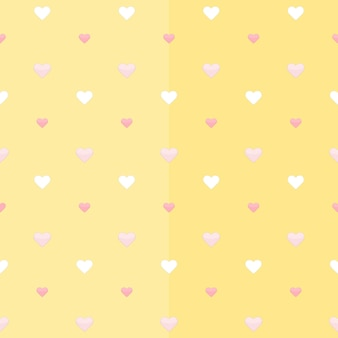 Бесшовный фон с белыми и розовыми сердечками на желтом. векторная иллюстрация