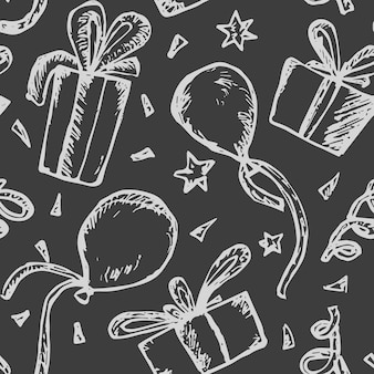 Seamless pattern with white on black sketch scratched gift boxes, balloons and confetti