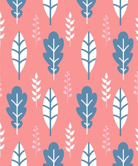 Seamless pattern with white and blue leaves on pink background
